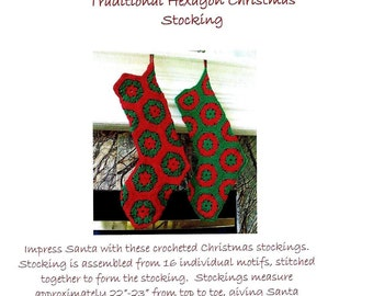 Crochet Pattern Instant Download - Traditional Filled Hexagon Christmas Stocking Pattern - Christmas Crochet Patterns - Stocking Tutorial