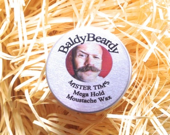 Mega hold moustache wax - Mister Tim's. An ultra strong hold, rigid wax. Handlebar moustaches. Ultimate hold. Extremely strong wax moustache