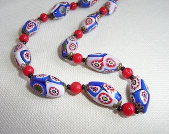 A Beautiful Vintage Venetian Art Deco Millefiori Glass Bead Necklace