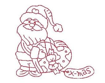 Santa Redwork Machine Embroidery Design, Christmas Redwork, Santa with a Heart Machine Embroidery, INSTANT DOWNLOAD, No: JG00003-9