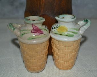 Oil and Vinegar / serving bottles / made in Japan / floral  / pink / green / top / basketweave / bottom / small bottles / salad dressing
