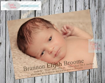 Neutral Baby Announcement, Birth Announcement, Baby Photo Cards