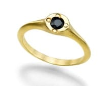 Spinael Gold Ring, 18K Yellow Gold Plated Ring & Black Spinel Ring, Unique Ring, Anniversary Gift, Handmade Designer Jewelry, Size 7