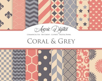 Coral and Grey Digital Paper. Scrapbook Backgrounds, Peach red patterns for Commercial Use. Geometric, chevron. floral. Instant Download.