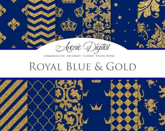 Royal Blue and Gold Digital Paper. Scrapbook Backgrounds, Prom patterns for Commercial Use. Gold Glitter digital paper.Printable Download.