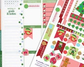 Cute Christmas Theme Planner Sticker Kit // Perfect for Erin Condren Planners