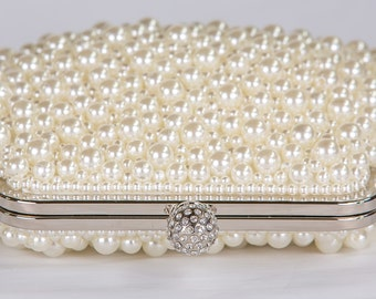 IVORY Pearl Clutch, Vintage Wedding Accesories, Bridal Clutch with Crystal Accent, Bridal Evening Bag ,Prom Clutch, Formal Party Bag 81