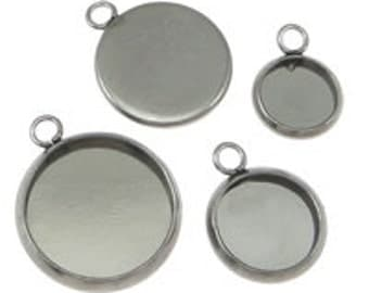 10pcs--Stainless Steel Pendant Cabochon Setting, Select a Size (B17-1)