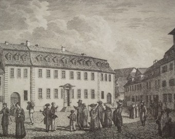 Vintage Graphic of Goethes House - Copper Engraving, Germany, Goethe, Weimar