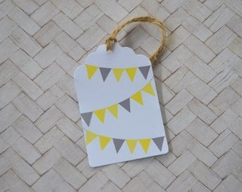 Yellow and Grey Bunting Gift Tag