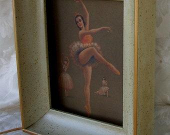 Vintage Ballerina Light, Wall Box Light, Framed Shadow Box Light
