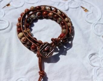 Apple Jasper Wrap Bracelet, Leather Bracelet, Beaded Bracelet, Copper Pewter Coin Button, Leather Wrap Bracelet