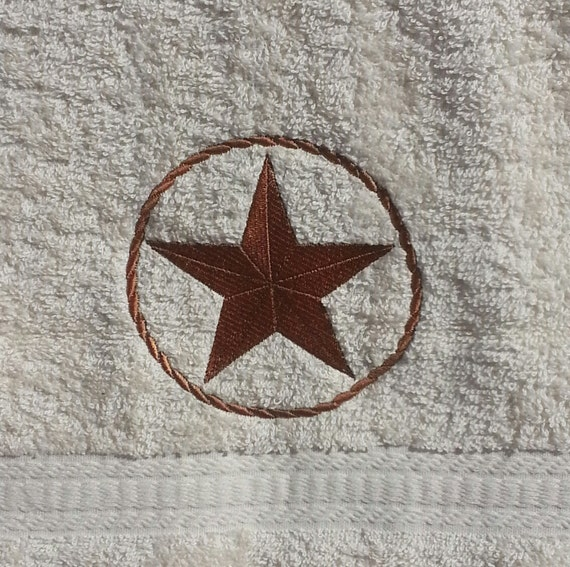 Embroidered Lone Star Hand Towel
