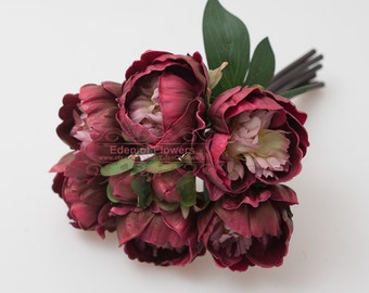Real touch burgundy Peony Bouquet for Bridal Bouquets, Wedding Centerpieces, Home Decoration, Vase Arrangement