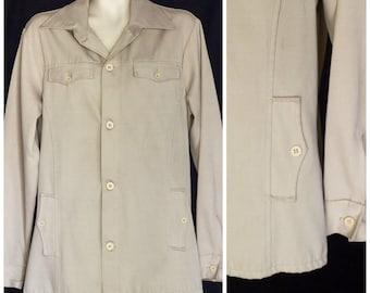 1970s men's khaki safari style jacket / shirt