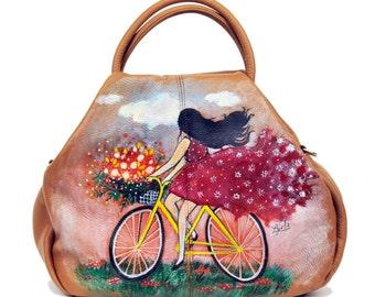 Hand Painted Fine Grain Leather Purse - Sebille Summer Dream Brown Purse by Lyria.ro