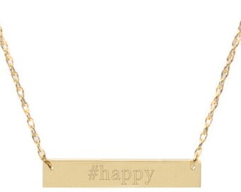 Happy Brass Bar Necklace