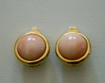 Vintage Milky Pink Round Circle Clip Earrings