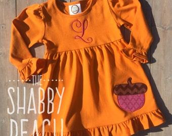 Orange Acorn Applique Dress (monogram included)