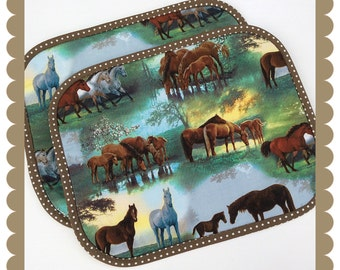 Table placemats / Horses / kitchen mats / novelty placemats / kitchen accessory / cotton placemats / dining room placemats / tablemats