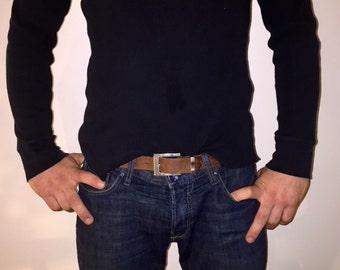 SALE,Vintage Belt,Brown Mens Genuine Leather Belt, Mens Belt, Vintage Leather Belt, Medium Mens Belt,Leather Belt