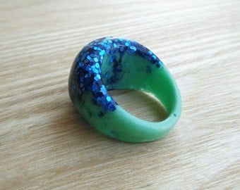 Mint Green Ring - Resin Ring -Resin Jewelry - Glitter Ring - Dome Ring - Electric Blue Glitter Resin Dome Ring - Size 8.5