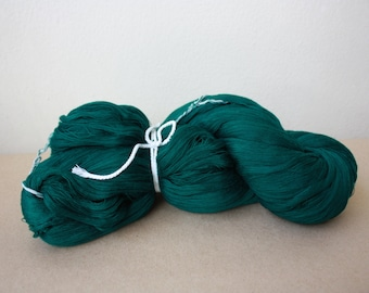 Hand spun Yarn / Green Synthetic Yarn