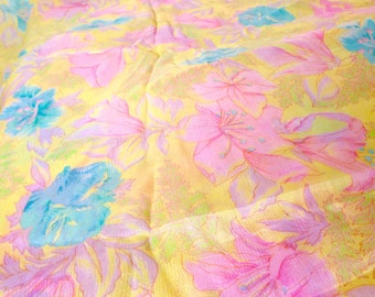 4.25 YARDS Sheer Pink Green Yellow Floral Flowers Mod 60s 70s