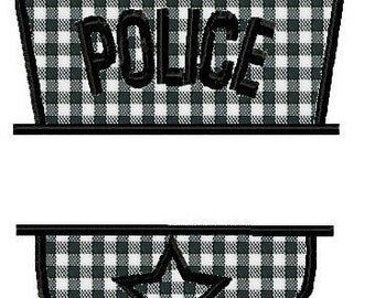 Machine Embroidery Design -Police Badge Split Applique - Instant Download-2 Sizes for 4 X 4 HOOP