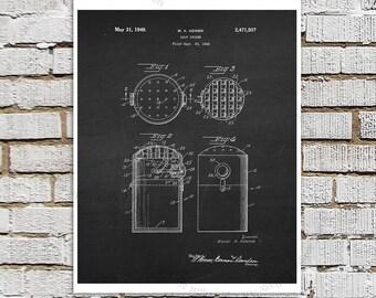 Mid Century Salt Shaker Patent print #1 Kitchen Art, Chalkboard Patent art, Kitchen wall art, Kitchen Wall Decor, Black & White Wall Decor