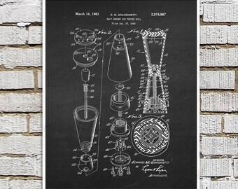Mid Century Salt Shaker Pepper Mill Patent print #4 Kitchen Art, Chalkboard art, Kitchen wall art, Kitchen Decor, Black & White Wall Decor