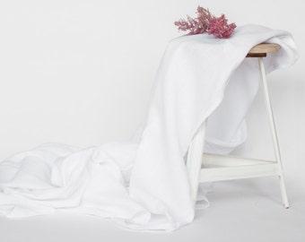 Pure white linen blanket, summer beach blanket, Bedspread, Picnic blanket, Custom size, Throw blanket