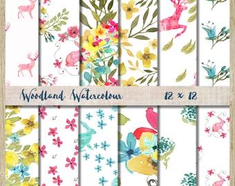 digital paper pack modern woodland watercolor scrapbook paper printable 12 x 12  floral deer rabbit instant download