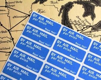 36 x Via Air Mail Labels Royal Mail Lot of 36 Stamps Stickers Paper Supplies Ephemera Postal Scrapbooking Ephemera Collage Junk Journal