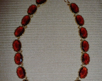 Amber Swarovski Crystal Necklace in Gold Plate