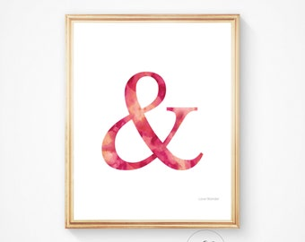 Ampersand print, pink ampersand, ampersand art, digital print, marriage art, family decor, wedding decor, and, printable decor nursery print