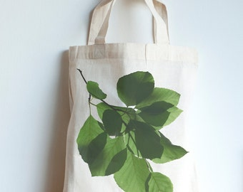Beech leaves mini tote bag, forest print, eco friendly cotton bag from Fair Trade factory, water based nature photography print