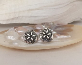 Sand Dollar Stud Earrings, Beach Jewelry, Gift >> Cartilage Earring >> Sterling Silver >> Made to Order