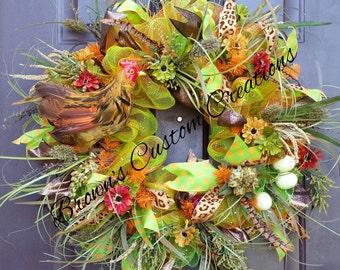 Woodsy Fall Wreath, Orange and Green Fall Wreath,