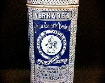 1930's Verkade's Prima Zaansche Biscuit Tin Blue & White