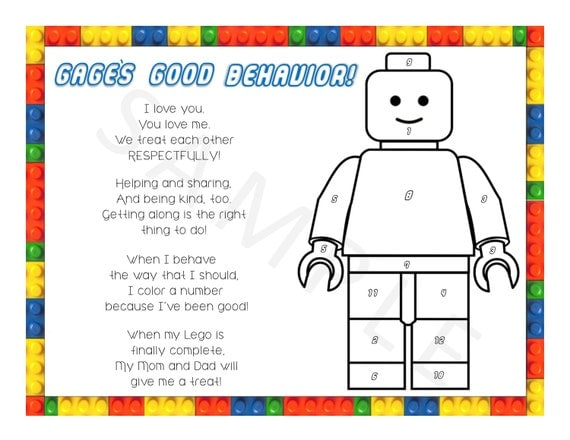 Personalized Lego Color the Number Behavior Chart by ...