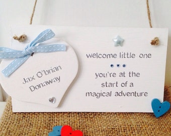 Personalised Handmade Baby Name Plaque - Handmade Personalised New Baby Gifts - Personalised Baby Plaques