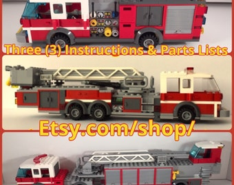 THREE (3) 1/32 scale Custom Lego Fire Truck Engine, Midmount Ladder Truck AND Hook & Ladder / instructions and parts inventory (digital copi
