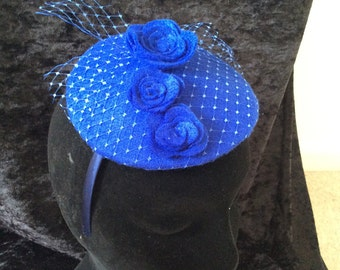 Cobalt blue felt and netting fascinator