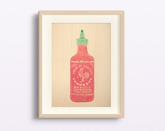 Print. Linocut. Hot chili sauce