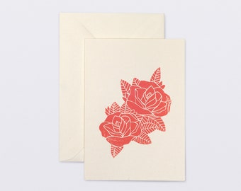 Post card. Linocut printing. Flower.