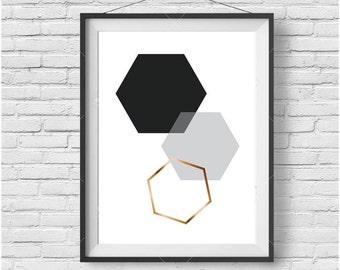 Geometric Print, Geometric Wall Art, Geometric Poster, Scandinavian Print, Scandinavian Art, Hexagon Print, Honeycomb Print, Gold Print