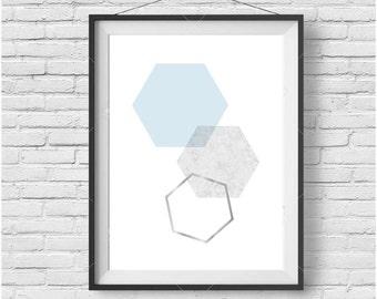 Light Blue Print, Light Blue Wall Art, Scandinavian Print, Geometric Print, Geometric Wall Art, Honeycomb Print, Honeycomb Art, Hexagon Art