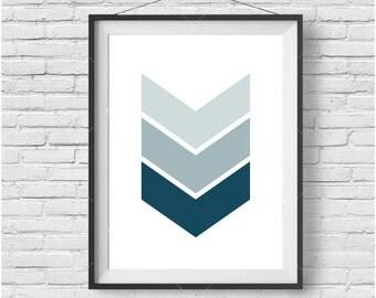 Navy Chevron Print Blue Chevron Art Chevron Poster Geometric Print Geometric Art Scandinavian Print Blue Print Navy Print Nursery Art Decor