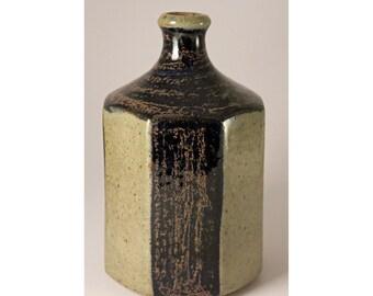Octagonal Bottle Vase, Knabstrup, Denmark..Modernist Mid Century